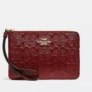 Coach Embossed Patent Leather Wristlet